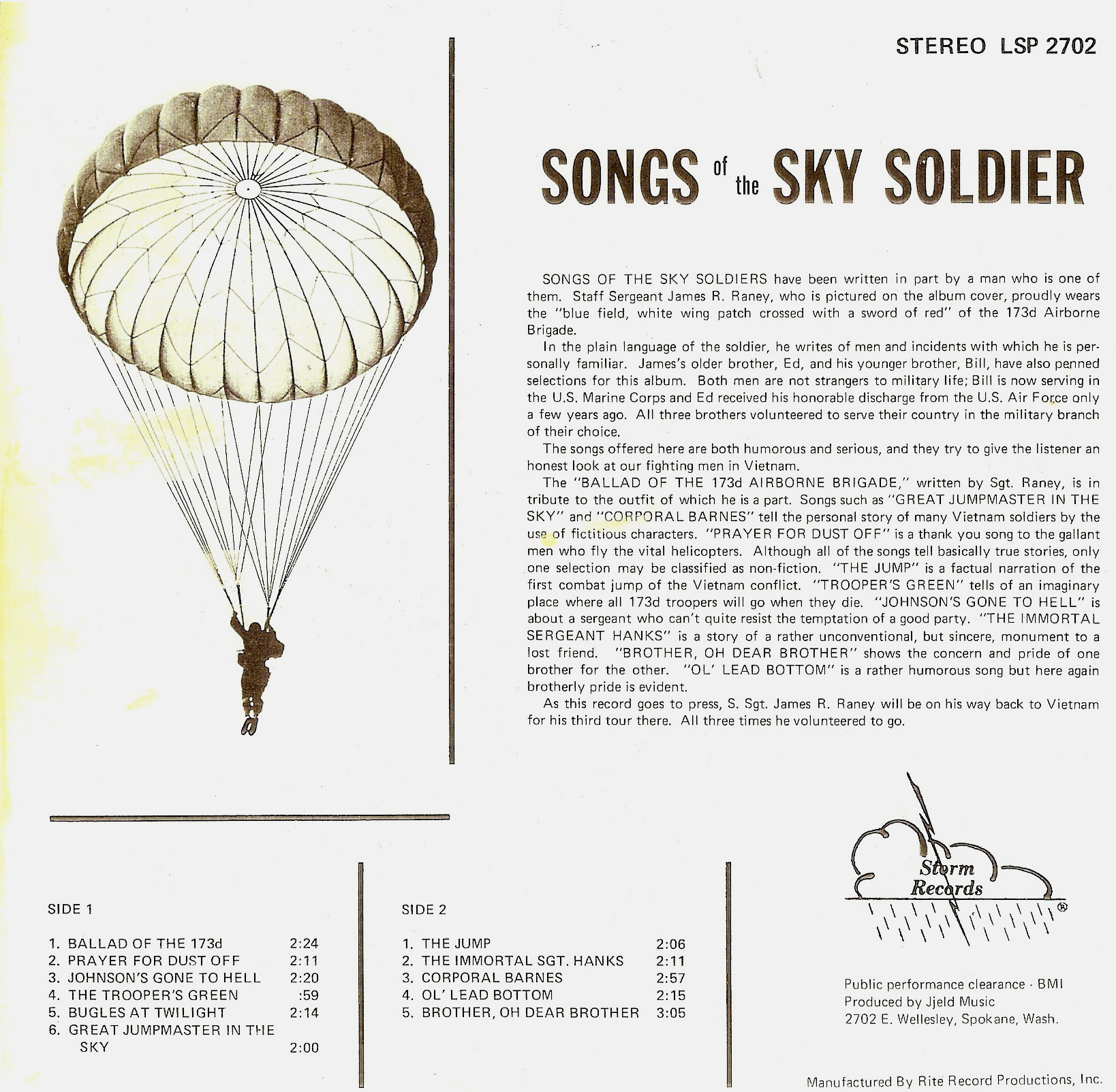 Sky Soldiers, songs from Vietnam
